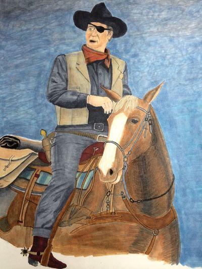 Rooster Cogburn and Bo John Wayne True Grit Sketch