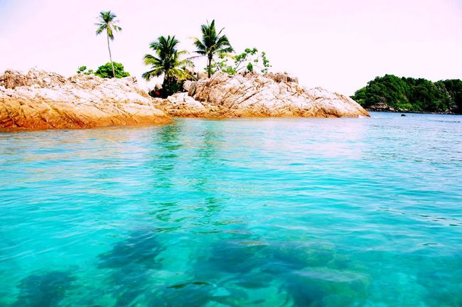 2012 Beauty In Nature Blue Crystal Clear Waters Day Flashback Idyllic Malaysia Nature Outdoors Pentax K20d Pulau Redang Remote Rock Formation Scenics Sea Sky Snorkeling Tranquil Scene Tranquility Turquoise Turquoise Colored Water Overexposed Palm Trees