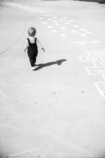 High angle view of woman on shadow