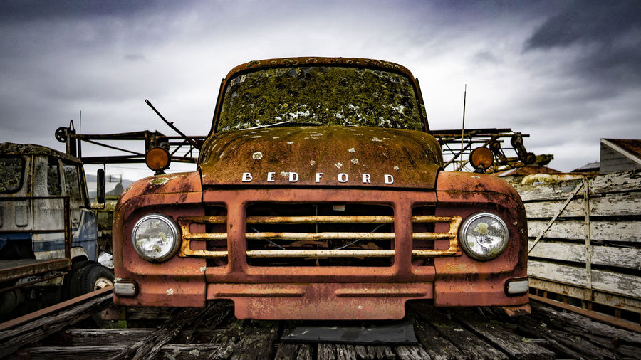 Abandoned Cloud - Sky Damaged Day Decline Deterioration History Land Vehicle Mode Of Transportation Nature No People Obsolete Old Outdoors Retro Styled Ruined Run-down Rusty Sky The Past Transportation