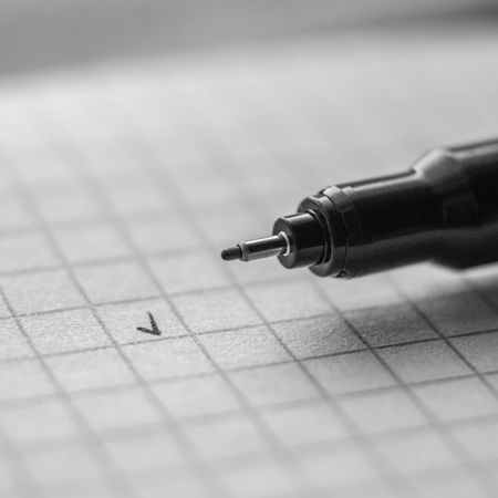 A pen with a checked square. Pen Pencil Pen Tips Strategy People Pencil Notes Note Paper Note List Close-up Writing Write