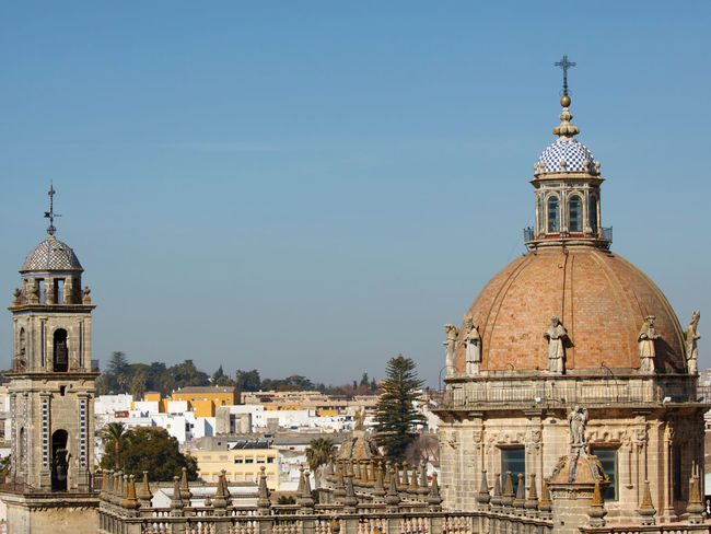 Cathedral in Jerez/Spain Andalusia Architectural Feature Architecture Art Attraction Attractions Bell Tower Cathedral Church Churches Cities City Dome Façade Historical Jerez Jerez De La Frontera Sculpture Sculptures SPAIN Spire  Steeple Town Towns Travel Destinations