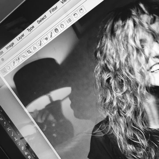 Real People Black & White Portrait Of A Woman Portrait Photoshop MacBook Editing Me One Person Close-up Monochrome Lifestyles Work Profile Laughing Happy Teeth Smiling Curly Hair Curls Bubbly Work Flow Eyeem Scotland  Scotland File