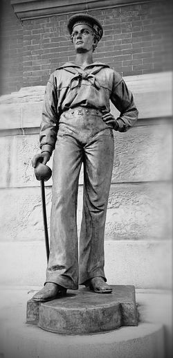 I loved this statue of a sailor in downtown Northampton, Massachusetts Front View Full Length Statue Sailor Northampton Massachusetts New England  Black And White History Shadows & Lights Art Monochrome Photography Art Is Everywhere