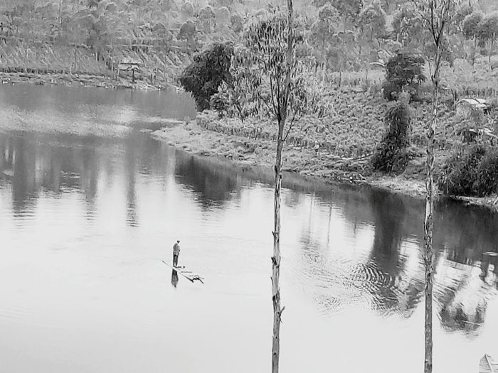 Reflection Lake Water Nature No People Outdoors Day This Is Indonesia Whahahahaha !!! :) If You Know What I Mean  Do You See What I See? Beauty In Nature black and white Close-up Walking On The Water Rafters Raft
