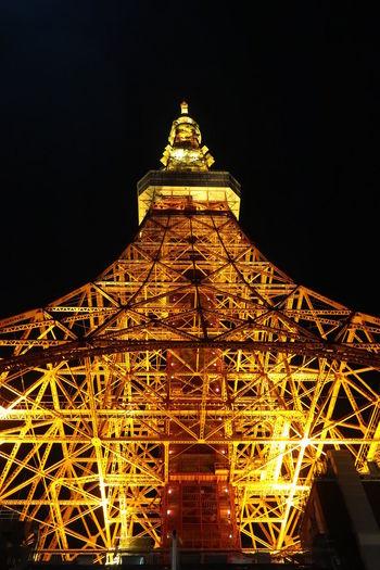 オレンジに光る東京タワー Tokyo Tokyo Tower Night Photo Night View