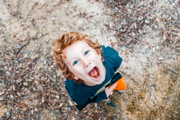High angle portrait of happy boy