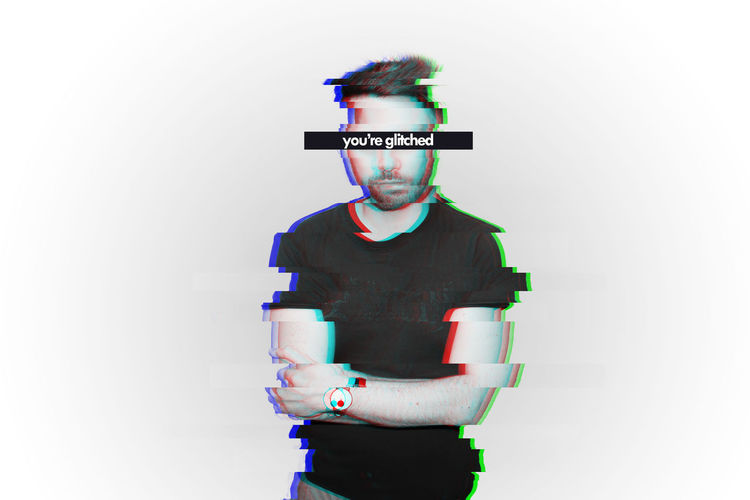 Digital composite image of man standing against white background