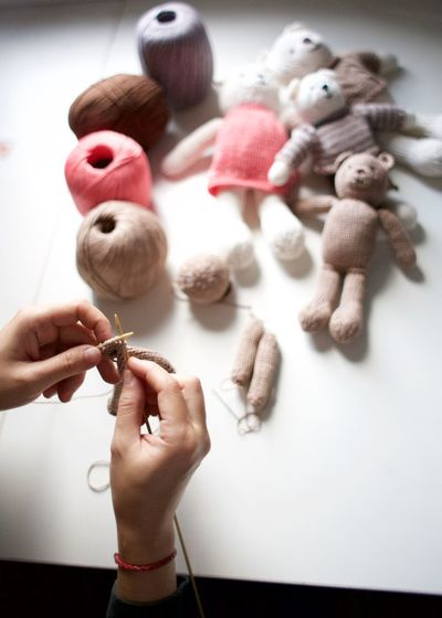 knitting teddy bears Brown Close-up Day Human Body Part Human Hand Knit Knitting Novels One Person People Pink Stuffed Toy Teddy Bear Tricot Yarn The Still Life Photographer - 2018 EyeEm Awards