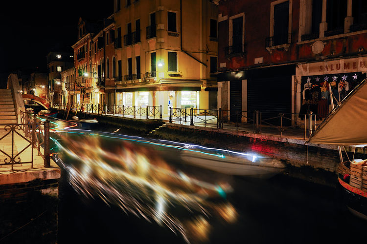 Venice, Italy Night Blurred Motion Motion Illuminated Transportation Mode Of Transportation Architecture Nautical Vessel Building Exterior City Long Exposure Built Structure Speed Water Canal Incidental People Building Street Outdoors Nightlife Venice, Italy