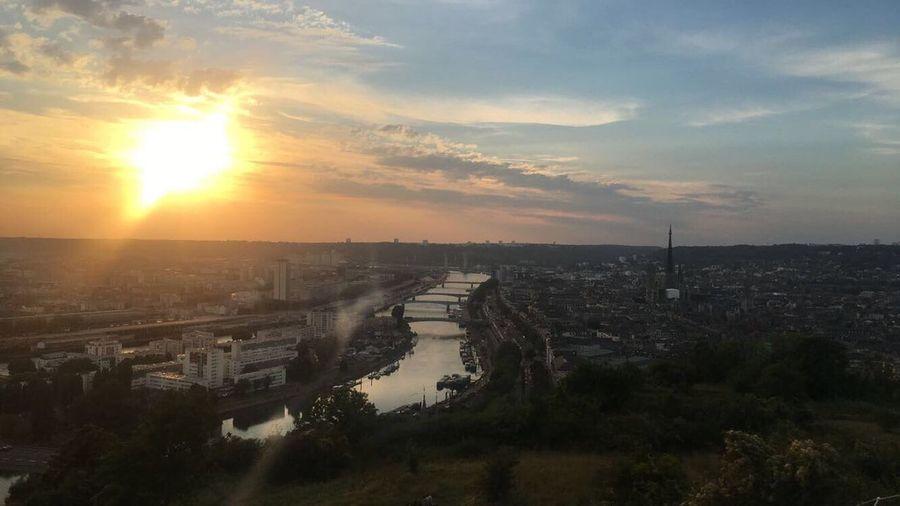 Ma jolie ville de Rouen Rouen Rouen, France France Ville Sky Sunset Cloud - Sky High Angle View Panorama Sun City Sunlight Cityscape Outdoors Beauty In Nature No People Nature End Of The Day Seine Seine River