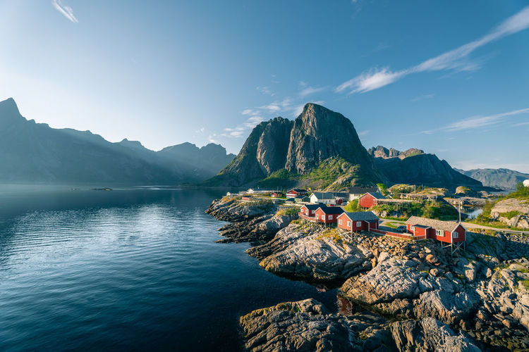 Red rorbu huts in lofoten, norway