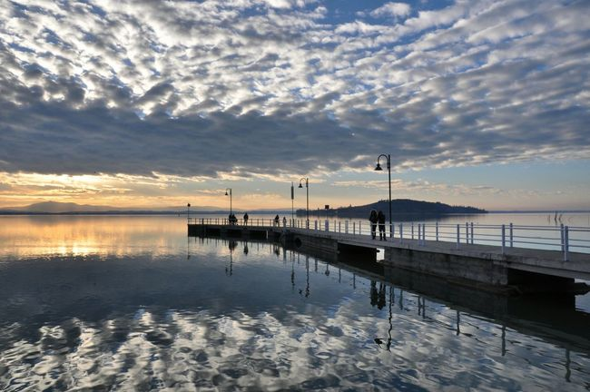 Sky Water Cloud - Sky Reflection Sunset Sea Nature Outdoors Tranquility Beauty In Nature No People Sun Trasimenolake