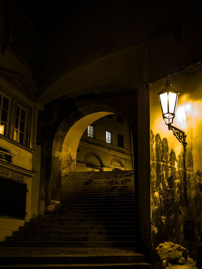 Prague Czech Republic Trip Journey Travel Architecture Built Structure Lighting Equipment Night Building Building Exterior No People Illuminated Street Light Arch Staircase Nature Outdoors Street Plant Direction Low Angle View Wall - Building Feature House Electric Lamp