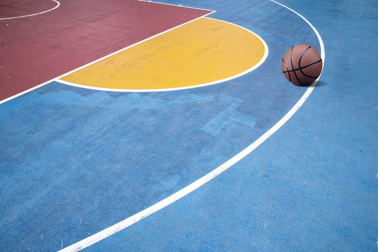 High angle view of basketball on sports court