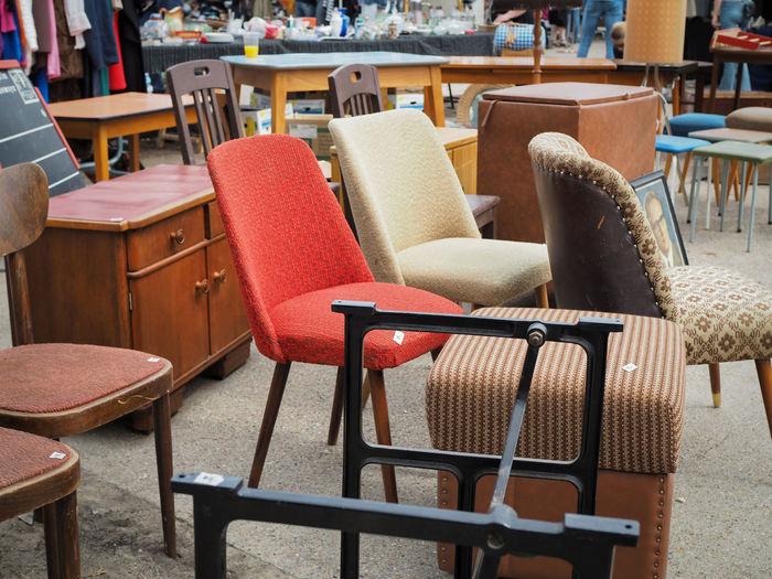 Furniture for sale at flea market