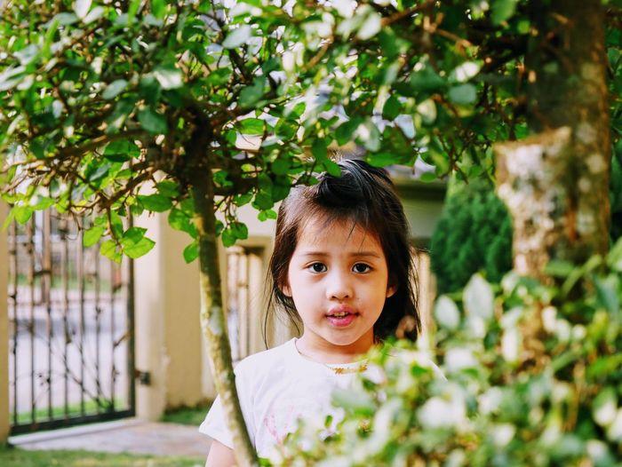 Portrait of girl seen through plants