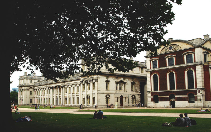 Architectural Column Architecture Building Exterior Built Structure City City Life Day Façade Government Grass Greenwich History London London United Kingdom Outdoors People Royal Naval College Sky Statue The Past Tourism Travel Travel Destinations Tree