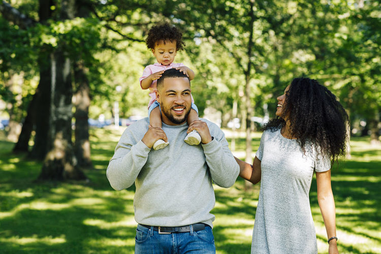Parents with baby boy at park