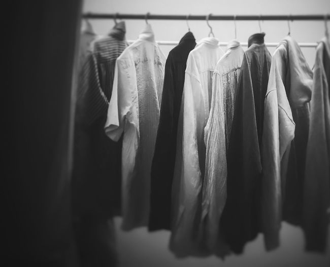 Clothes hanging in rack