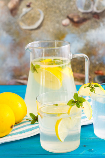 Citrus Fruit Drink Drinking Glass Food Food And Drink Freshness Fruit Glass Glass - Material Healthy Eating Household Equipment Lemon Lemonade Mint Leaf - Culinary No People Pitcher - Jug Refreshment Still Life Table Transparent Tray Wellbeing