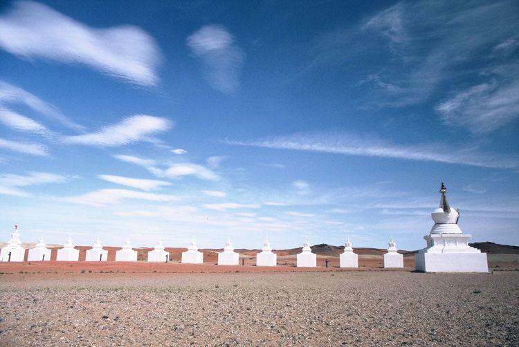 Stupas against sky