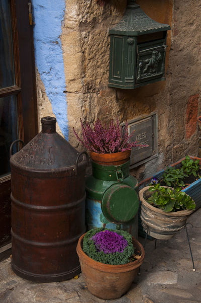 decorated entrance in a village in Catalonia Catalunya Entrance Plants SPAIN Architecture Barrel Building Exterior Built Structure Close Up Colorful Day Decoration Door Flower Letterbox No People Old Outdoors Plant Potted Plant Rural Scene Street Village