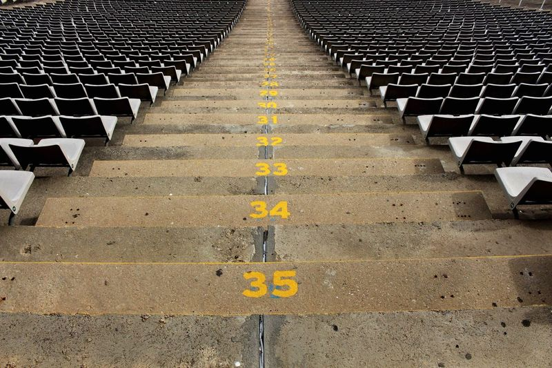 High angle view of numbered aisle