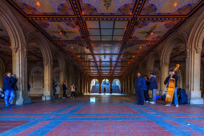 Musicians playing at the Bethesda Terrace located in Central Park , NY. Arches Architecture Band Bethesda Bethesda Fountain Bethesda Terrace Ceiling Central Park CentralPark Indoors  Men Music Musicians Passage People Terrace
