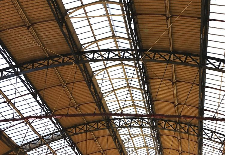 Look up • Indoors  Ceiling Geometric Shape Pattern Architectural Feature Skylight Architectural Design Roof Beam Shapes Station Lookup Lookup_ldn Repetition Photography Shapes And Forms Built Structure Curve