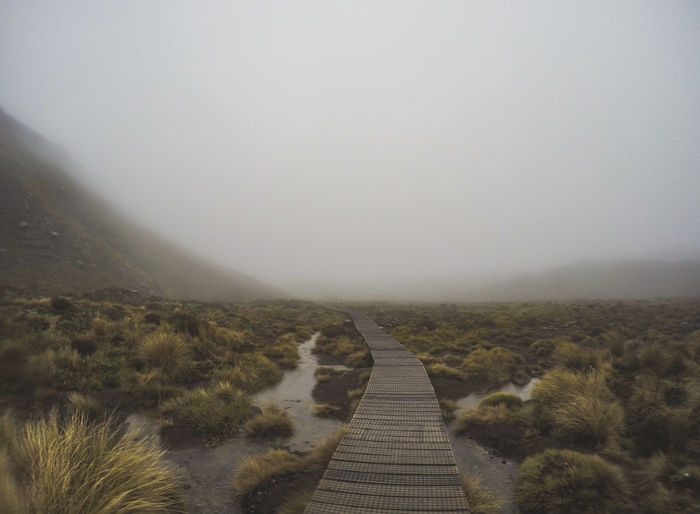 Whilst on a 6 month cycle tour around New Zealand, my girlfriend and I tackled the Tongariro Alpine Crossing, thinking Christmas Eve would be a nice warm day, we were surprised by the complete white out, -6C temperatures, snow and gale force winds, we made it but it made for quite an adventure! Boardwalk Marsh Marshland  Alpine Tongariro Crossing Tongariro Alpine Crossing Tongariro Nature Nature_collection Nature Photography Naturelovers NZ New Zealand Travel Travelling Travel Destinations Fog Nature Reserve Landscape Grass Foggy Mist Rocky Mountains Tranquil Scene Tranquility Calm Weather Scenics The Great Outdoors - 2018 EyeEm Awards The Traveler - 2018 EyeEm Awards