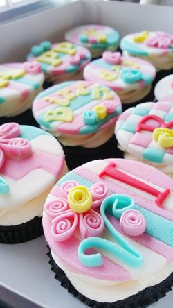 Sweet Food Dessert Indulgence Multi Colored Close-up Food Day No People Cupcakes♡ Quilling Fondant Art Birthday Cupcakes Visual Feast Neon Life