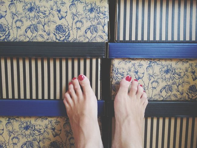 EyeEm Selects Paper Box Storage Bare Feet Nail Polish Human Body Part Human Leg One Woman Only Close-up Pattern Pieces Pattern, Texture, Shape And Form Stripes Pattern Floral Pattern Storage Compartment The Week On EyeEm