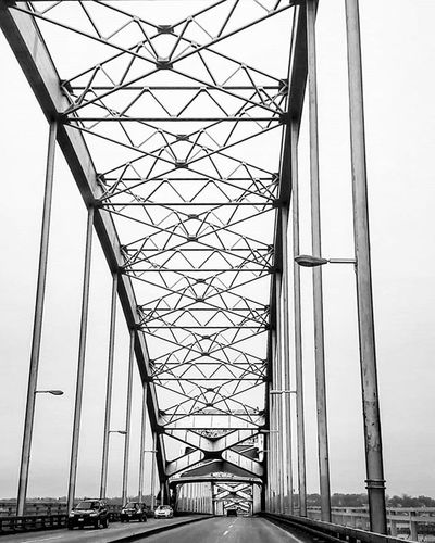 Centennial Bridge that connects Davenport (IA) and Rock Island (IL). Aroundiowa Centennial Centennialbridge Iowa Davenport  Davenportiowa Rockisland Rockislandillinois Illinois Blackandwhite Blackandwhitephotographer Blackandwhitephotography Blackandwhitephoto Bridge Bridges Sky Cars Street Streetlight Road Arounddubuque Bnw_captures