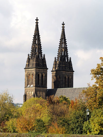 St Vitus Cathedral Towers Against Sky