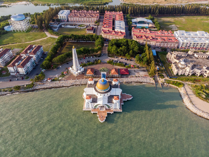 Malacca Straits Mosque High Angle View Water Nature Architecture Day Plant Travel Building Exterior Transportation Built Structure Travel Destinations No People Outdoors Tree Aerial View City Sport Sunlight Melaka Malacca Melaka Straits Mosque Mosque Asian  Drone  Droneshot