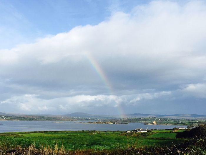 Rainbow Sky Eye4photography  Blue Sky Irish Landscape Countryside West Cork Beauty In Nature Rainbow Sky Green Colors Nature Rainbow Colors