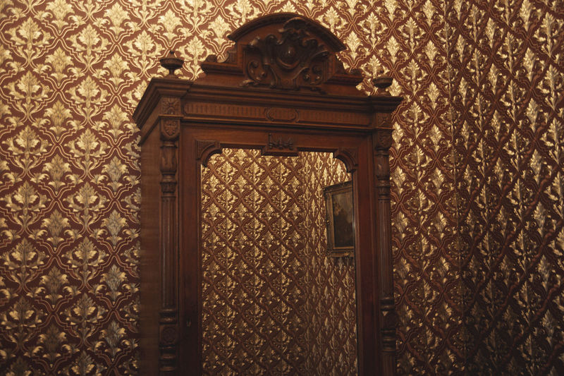 Mirror, Mirror Wardrobe Mirror Reflection Painting Wallpaper Brown Wooden Carved Wood Abstract Moody Odd Ornament Linas Was Here