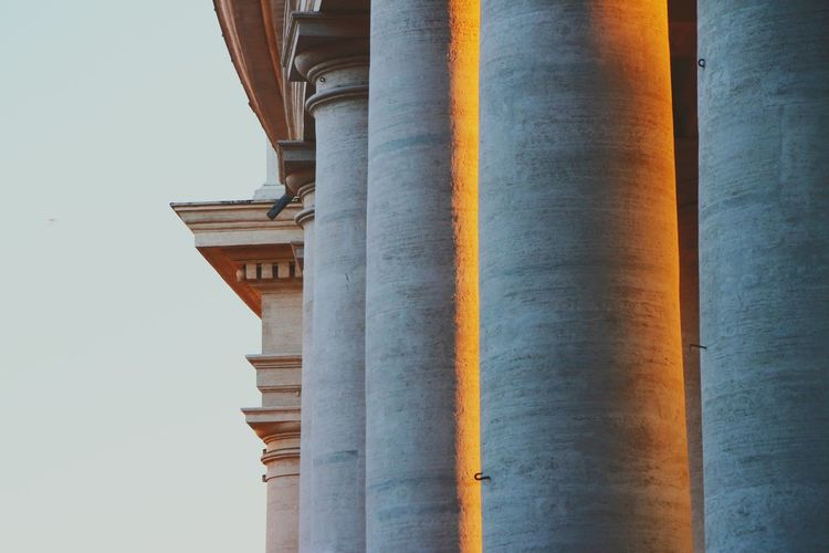 Sunset on marble Architectural Column Travel Destinations Clear Sky Architecture City Outdoors Sky Vacations Day No People Rome Warm Stone Marble Vatican Italy Contrast Sunset History Ancient Wallpaper Best EyeEm Shot