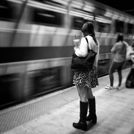The girl in the boots Motion Speed Public Transportation Blurred Motion Transportation On The Move Train - Vehicle Full Length Travel Mode Of Transport Casual Clothing Subway Station Warm Clothing Lifestyles Long Exposure Rear View Subway Train Leisure Activity Rail Transportation Carrying