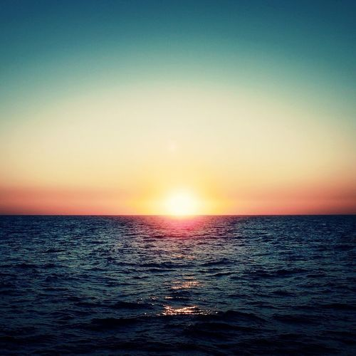 Happiness Happy Soul Sunset Sea And Sky Nature Beauty In Nature Water Horizon Over Water Clear Sky Sunlight