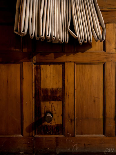 Close-up Copy Space Fire Hose Hanging Indoors  No People Wood - Material