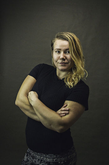 Arms Blond Hair Confidence  Confident  Explorer Indoors  Lightroom Looking At Camera Mid Adult Natural Norwegian One Person One Woman Only Portrait Self Portrait Smile Smirk Strong Strongwoman Studio Studio Photography Viking Viking Look Vikings  Young