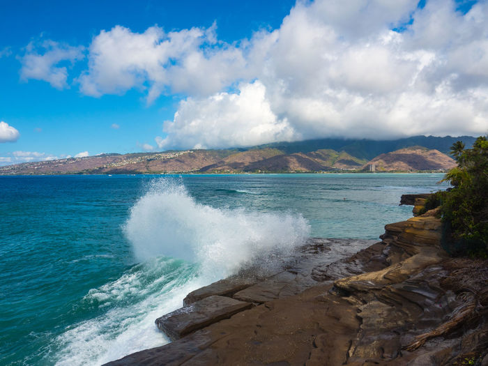 China Walls Hawaii Oahu, Hawaii Beauty In Nature Big Surf Cloud - Sky Day Motion Mountain Nature No People Outdoors Power In Nature Scenics Sea Sky Tranquility Water Wave EyeEm Ready