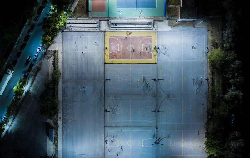 Directly above shot of sports ground