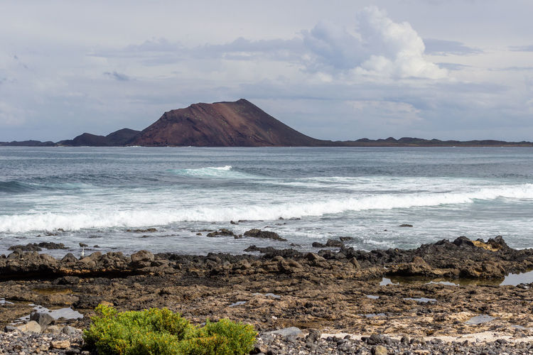 Panoramic view at the coastline of corralejo on canary island fuerteventura, spain with lava rocks