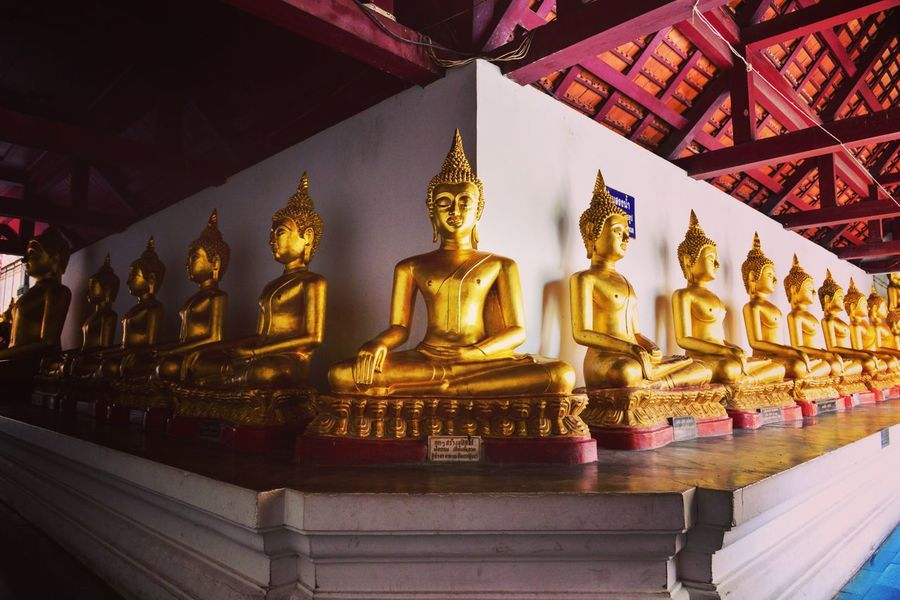 Spirituality Statue Gold Colored Place Of Worship Architecture Low Angle View Buddha Buddha Temple