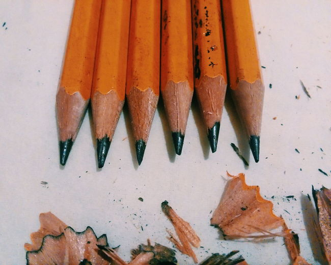 High Angle View Of Pencils On Table