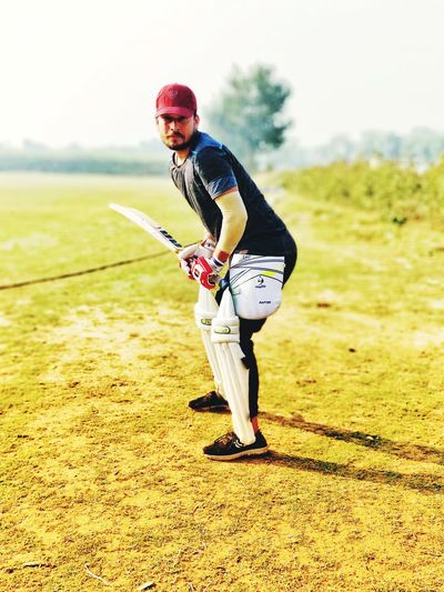 Batting Stance Cricket Field Newdelhi #delhiteboy Cricket Insect Muscular Build Full Length Healthy Lifestyle Motion Challenge Exercising