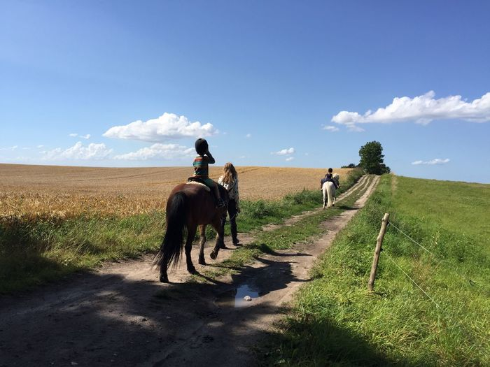 Mother with sons riding horses on pathway amidst grassy field against sky